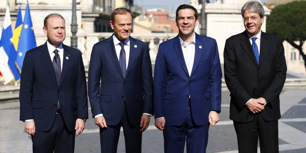 "(from L to R) Malta's Prime Minister Joseph Muscat, European Council President Donald Tusk, Greek Prime Minister Alexis Tsipras and Italy's Prime Minister Paolo Gentiloni pose for a picture outside the city hall ""Campidoglio"" (Capitoline Hill) as EU leaders arrive for a meeting on the 60th anniversary of the Treaty of Rome, in Rome, Italy March 25, 2017.  REUTERS/Tony Gentile"