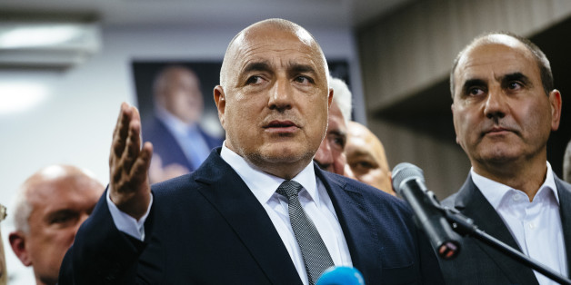 Head of the centre-right GERB party and former prime minister Boyko Borisov speaks to media in Sofia on March 26, 2017, after his party won the country's parliamentary election.