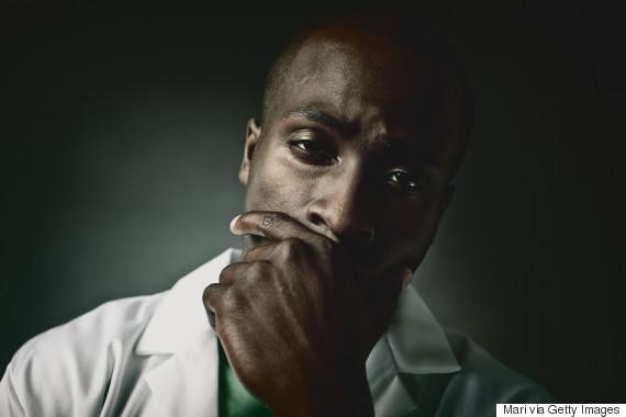 worried black doctor