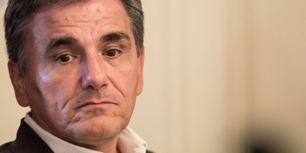 Greek Minister of Finance Euclid Tsakalotos attands a round table during an Informal Meeting of Ministers for Economic and Financial Affairs (Informal ECOFIN) in Bratislava, Slovakia on September 09, 2016.  / AFP / VLADIMIR SIMICEK        (Photo credit should read VLADIMIR SIMICEK/AFP/Getty Images)