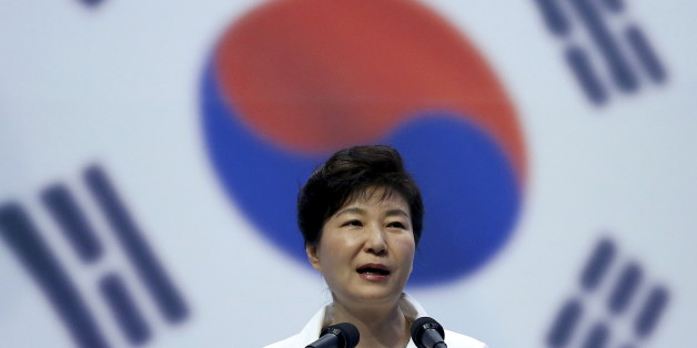 South Korean President Park Geun-hye speaks during a ceremony marking the 70th anniversary of the liberation from Japan's 1910-45 colonial rule, following the end of World War Two, on Liberation Day in Seoul, South Korea, August 15, 2015. REUTERS/Kim Hong-Ji