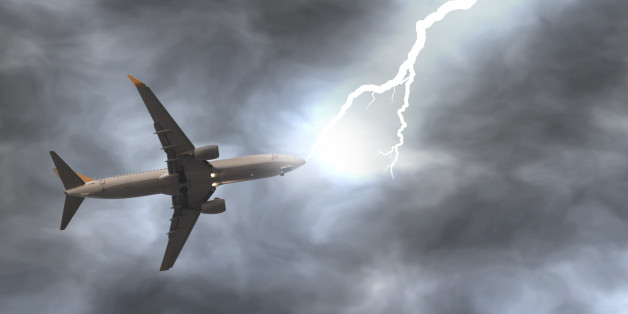 Lightning bolt hits a plane on the air. Digitally generated image.