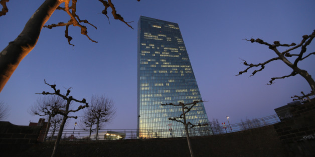 The European Central Bank (ECB) skyscraper headquarters stand illuminated at dusk in Frankfurt, Germany, on Thursday, Jan. 19, 2017. The ECB left its quantitative-easing program unchanged as policy makers wait to see if a pickup in inflation will be sustained. Photographer: Krisztian Bocsi/Bloomberg via Getty Images