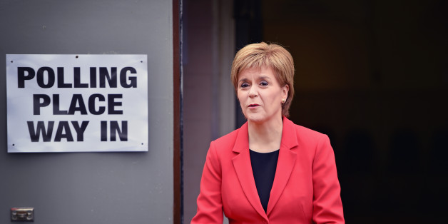 GLASGOW, SCOTLAND - MAY 05:  SNP Leader Nicola Sturgeon casts her vote in the Scottish Parliamentary election at Broomhouse Community Hall on May 5, 2016 in Glasgow,Scotland. Today, dubbed 'Super Thursday', sees the British public vote in countrywide elections to choose members for the Scottish Parliament, the Welsh Assembly, the Northern Ireland Assembly, Local Councils, a new London Mayor and Police and Crime Commissioners. There are around 45 million registered voters in the UK and polling stations open from 7am until 10pm.  (Photo by Jeff J Mitchell/Getty Images)