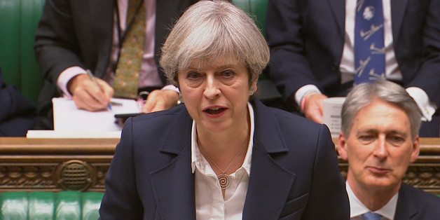 Britain's Prime Minister Theresa May speaks in Parliament as she announces that she has sent the letter to trigger the process of leaving the European Union in London, March 29, 2017. Parliament TV handout via REUTERS    FOR EDITORIAL USE ONLY. NOT FOR SALE FOR MARKETING OR ADVERTISING CAMPAIGNSTHIS IMAGE HAS BEEN SUPPLIED BY A THIRD PARTY.
