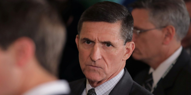 White House National Security Advisor Michael Flynn (C) arrives prior to a joint news conference between Canadian Prime Minister Justin Trudeau and U.S. President Donald Trump at the White House in Washington, U.S., February 13, 2017. REUTERS/Carlos Barria