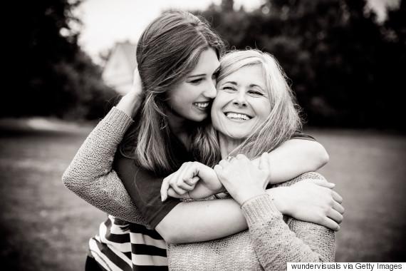 surprised older mother daughter
