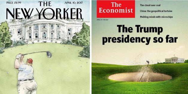 Ces magazines transforment Trump en golfeur pour résumer ses premiers mois au pouvoir