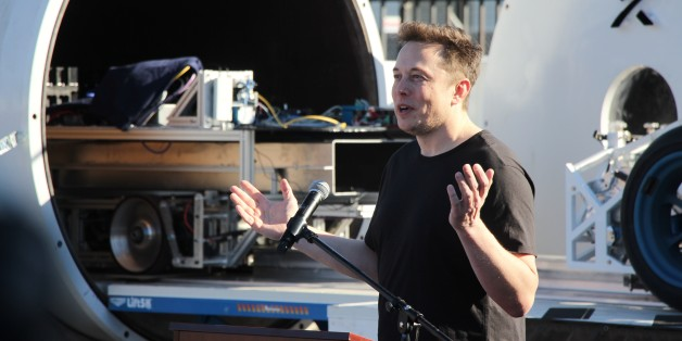 WATERLOO, ON - FEB. 17:WATERLOO, ON - FEB. 17:Elon Musk speaks at the Hyperloop pod competition on January 29, 2017. To accelerate the development of a functional Hyperloop prototype, a high speed transportation system that Musk proposed in 2013, SpaceX staged a student pod competition.        (Kate Allen/Toronto Star via Getty Images)