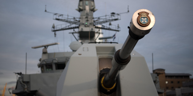 LONDON, ENGLAND - MARCH 07:  The gun of HMS St Albans is pictured as the ship is moored in Canary Wharf on March 7, 2017 in London, England. HMS St Albans is a Type 23 frigate of the Royal Navy.  In 2006 she took a six-month deployment to the Gulf region to protect the Iraqi oil platforms and patrol duties in the Gulf.  Members of her female crew have been invited to 10 Downing Street to a reception for International Women's day hosted by the Prime Minister, Theresa May.  (Photo by Carl Court/Getty Images)