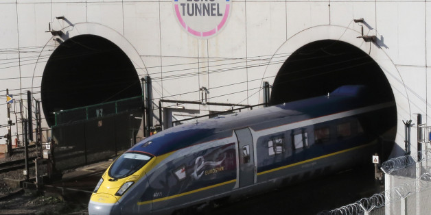 A new high-speed Eurostar e320 train leaves the Channel Tunnel in Coquelles, near Calais, northern France, October 20, 2015. REUTERS/Pascal Rossignol/File Photo