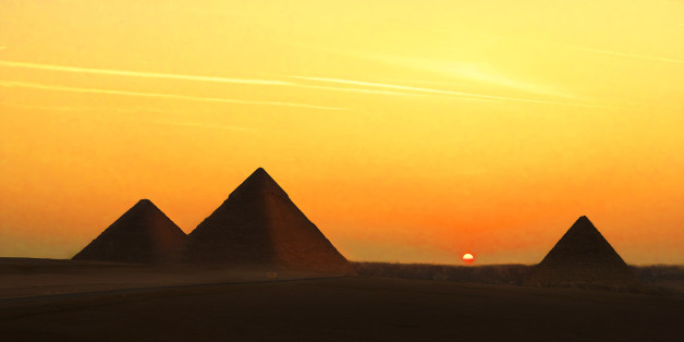 The Pyramids of Giza, Egypt were built about 2,600 B.C.Massive tombs of Egyptian pharaohs, the pyramids are the only ancient wonders still standing today.