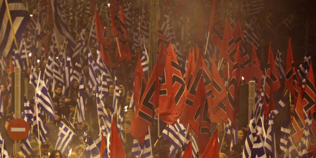 Golden Dawn rally in Athens, Greece, January 28, 2017. Supporters of the Greek ultra nationalist party Golden Dawn gathered to commemorate the death of three Greek military officers during Imia crisis in 1996. A greek army helicopter crashed on January 31 1996 in the Imia islets, at the Greek-Turkish sea borders. (Photo by Giorgos Georgiou/NurPhoto via Getty Images)