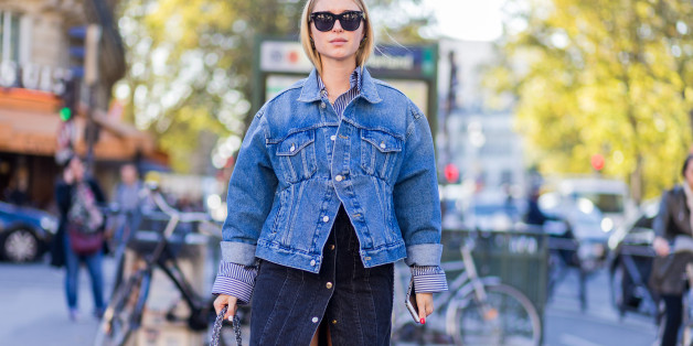 PARIS, FRANCE - OCTOBER 03: Pernille Teisbaek wearing a denim jacket and Chanel bag outside Hermes on October 3, 2016 in Paris, France. (Photo by Christian Vierig/Getty Images)