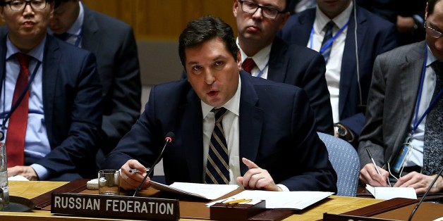 NEW YORK, UNITED STATES - APRIL 5: ussia's Deputy Permanent Representative to the UN Vladimir Safronkov speaks during a meeting of the United Nations Security Council at U.N. headquarters, on April 5, 2017 in in New York, United States. The Security Council is holding emergency meeting following suspected chemical gas attacks in Syrias Idlib that killed at least a hundred people. (Photo by Volkan Furuncu/Anadolu Agency/Getty Images)