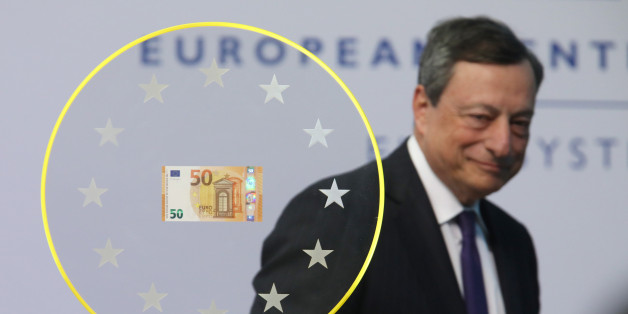 Mario Draghi, president of the European Central Bank (ECB), arrives to unveil the new 50 euro currency bank note at the ECB headquarters in Frankfurt, Germany, on Tuesday, April 4, 2017. The ECB estimates Banca Popolare di Vicenza SpA and Veneto Banca SpA need about 6.4 billion euros ($6.8 billion) and considers the lenders solvent, a condition for them to receive a bailout, according to people familiar with the matter. Photographer: Alex Kraus/Bloomberg via Getty Images