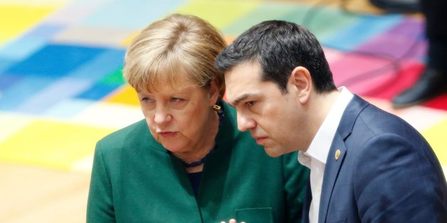 Germany's Chancellor Angela Merkel talks to Greece's Prime Minister Alexis Tsipras during a European Union leaders summit in Brussels on March 10, 2017.  / AFP PHOTO / POOL / FRANCOIS LENOIR        (Photo credit should read FRANCOIS LENOIR/AFP/Getty Images)