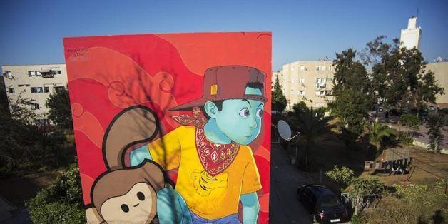 Une fresque signée Machima (Maroc), réalisée en 2016 dans le cadre du festival Jidar.
