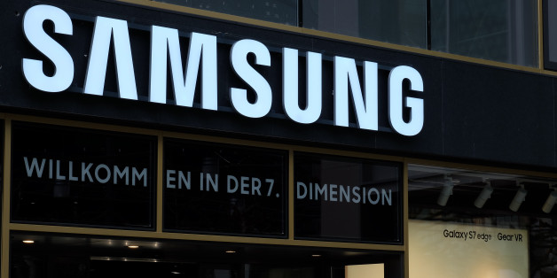 Frankfurt, Germany – March 30th, 2016: Samsung shop on the Zeil Street. Includes the Samsung logo and a window display. Samsung is a world famous electronic appliances brand.