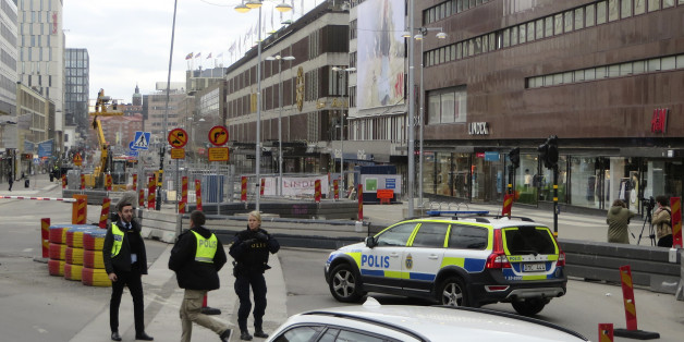 Police officers guard at the downtown in Stockholm, Sweden, April 7, 2017. REUTERS/Magnus Strom