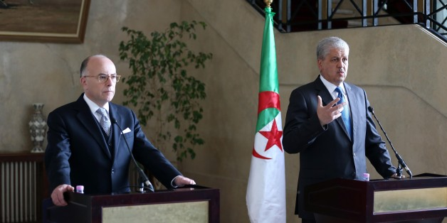 French Prime Minister Bernard Cazeneuve (L) speaks after a meeting with his Algerian counterpart Abdelmalek Sellal in the capital Algiers on April 6, 2017. Cazeneuve began a visit to Algeria on April 5, 2017 focused on strengthening economic-industrial partnerships and fighting terrorism. (Photo by Billal Bensalem/NurPhoto via Getty Images)