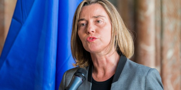 BRUSSELS, BELGIUM - APRIL 04 : High Representative of the European Union for Foreign Affairs and Security Policy Federica Mogherini speaks during a joint press conference with UN Secretary-General's Special Envoy for Syria, Staffan de Mistura (not seen) after their meeting in Brussels, Belgium on April 04, 2017. (Photo by EU Commission/Anadolu Agency/Getty Images)