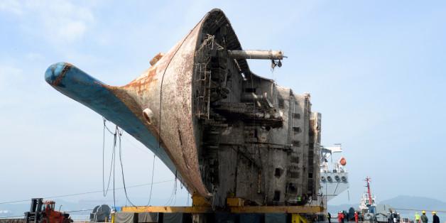 반잠수식 선박에 거치 된 세월호