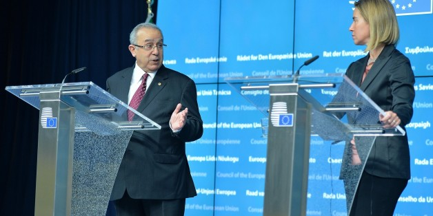 BRUSSELS, BELGIUM - JUNE 04: Algerian Foreign Minister Ramtane Lamamra (L) and High Representative of the European Union for Foreign Affairs and Security Policy, Federica Mogherini (R) are seen during a joint press conference following the Algeria-EU Association Council Meeting in Brussels, Belgium on June 4, 2015. (Photo by Dursun Aydemir/Anadolu Agency/Getty Images)