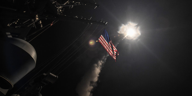 MEDITERRANEAN SEA - APRIL 7:  In this handout provided by the U.S. Navy,The guided-missile destroyer USS Porter fires a Tomahawk land attack missile on April 7, 2017 in the Mediterranean Sea. The USS Porter was one of two destroyers that fired a total of 59 cruise missiles at a Syrian military airfield in retaliation for a chemical attack that killed scores of civilians this week. The attack was the first direct U.S. assault on Syria and the government of President Bashar al-Assad in the six-yea