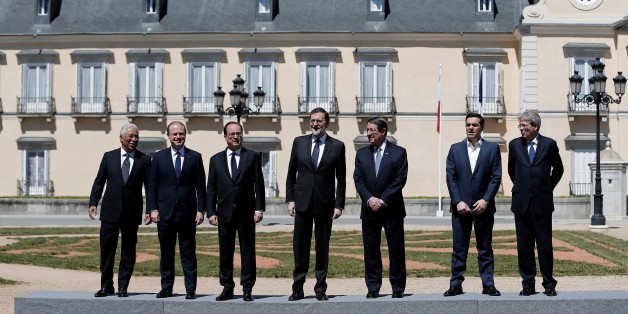 MADRID, SPAIN - APRIL 10 : French President Francois Hollande (3rd L), Spanish Prime Minister Mariano Rajoy (C), Greek-Cypriot leader Nicos Anastasiades (3rd R), Prime Minister Portugal Antonio Costa (L), Prime Minister of Italy Paolo Gentiloni (R), Prime Minister of Greece Alexis Tsipras (2nd R) and Prime Minister Malta Joseph Muscat (2nd L) pose for a photo before the Southern European Union Countries Summit at the El Pardo Palace in Madrid, Spain on April 10, 2017. (Photo by Burak Akbulut/Anadolu Agency/Getty Images)