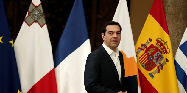 MADRID, SPAIN - APRIL 10 : Prime Minister of Greece Alexis Tsipras is seen during a press conference after the Southern European Union Countries Summit at the El Pardo Palace in Madrid, Spain on April 10, 2017. (Photo by Burak Akbulut/Anadolu Agency/Getty Images)