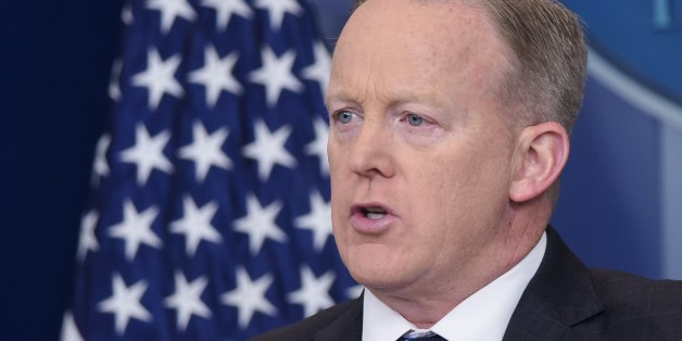 White House Press Secretary Sean Spicer speaks in the Brady Briefing Room of the White House on April 10, 2017 in Washington, DC. / AFP PHOTO / Mandel Ngan        (Photo credit should read MANDEL NGAN/AFP/Getty Images)