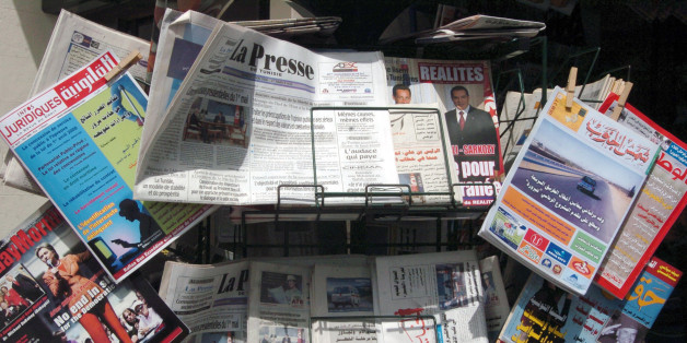 Tunisian daily newspapers and magazines are displayed at a shop on May 03, 2008 in Tunis, the international day for Press.  Reporters Without Borders (RSF) media rights group., said 'Freedom of expression remains a utopia in Tunisia. All the press does is glorify the work of President Zine El Abidine Ben Ali, and independent journalists and their families are the victims of constant harrassment,' .AFP PHOTO FETHI BELAID. (Photo credit should read FETHI BELAID/AFP/Getty Images)