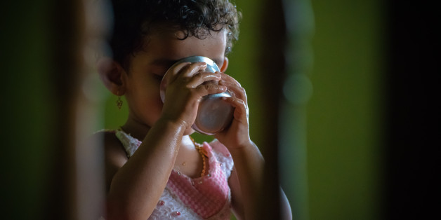 one girl, aged 2, indoor, drinking water, color