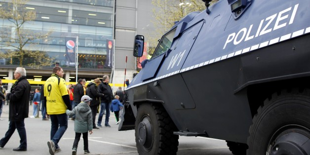 DORTMUND, GERMANY - APRIL 12: A riot control vehicle is seen ahead of the UEFA Champions League Quarter-Final soccer match between Borussia Dortmund and AS Monaco at the Signal Iduna Park Stadium in Dortmund, Germany on April 12, 2017. (Photo by Leon Kuegeler/Anadolu Agency/Getty Images)