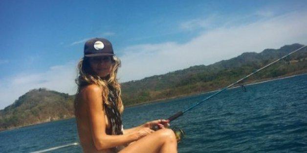 Heidi Klum geht fischen - und zeigt ihren Fans mehr als ihrem Freund lieb sein dürfte.