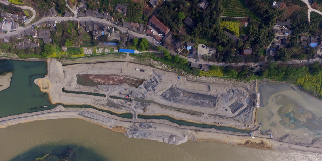 MEISHAN, CHINA - MARCH 20:  Aerial view of the archeological site where over 10,000 cultural relics are discovered at Jiangkou Town in Pengshan District on March 20, 2017 in Meishan, Sichuan Province of China. The underwater archeology started on January and has made significant progress in March. Zhang Xianzhong was a leader of a peasant revolt from Yan'an in Shaanxi Province and he later conquered Sichuan in the 17th century. His rule in Sichuan was brief and he was killed by the invading Qing