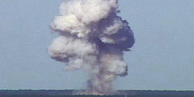 The GBU-43/B, also known as the Massive Ordnance Air Blast, detonates during a test at Elgin Air Force Base, Florida, U.S., November 21, 2003 in this handout photo provided April 13, 2017.  REUTERS/U.S. Air Force photo/Handout via REUTERS   ATTENTION EDITORS - THIS IMAGE WAS PROVIDED BY A THIRD PARTY. EDITORIAL USE ONLY