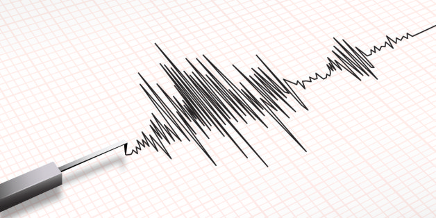 Closeup of a seismograph machine earthquake in vector format