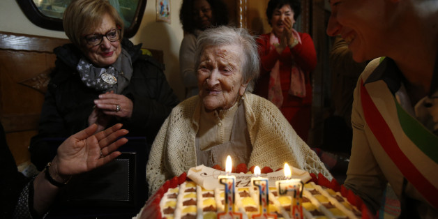 ROME, Nov. 29, 2016 -- Emma Morano is seen at her 117th birthday in Verbania, northwest Italy, on Nov. 29, 2016. The woman considered as the world's oldest living person turned 117 in northwest Italy on Tuesday. (Xinhua via Getty Images)