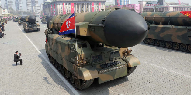This April 15, 2017 picture released from North Korea's official Korean Central News Agency (KCNA) on April 16, 2017 shows Korean People's ballistic missiles being displayed through Kim Il-Sung square during a military parade in Pyongyang marking the 105th anniversary of the birth of late North Korean leader Kim Il-Sung. / AFP PHOTO / KCNA VIA KNS / STR / South Korea OUT / REPUBLIC OF KOREA OUT   ---EDITORS NOTE--- RESTRICTED TO EDITORIAL USE - MANDATORY CREDIT 'AFP PHOTO/KCNA VIA KNS' - NO MARK