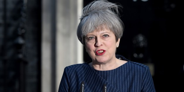 LONDON, ENGLAND - APRIL 18: British Prime Minister Theresa May makes a statement to the nation in Downing Street on April 18, 2017 in London, United Kingdom. The Prime Minister has called a general election for the United Kingdom to be held on June 8, the last election was held in 2015 with a Conservative party majority win. (Photo by Kate Green/Anadolu Agency/Getty Images)