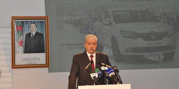 ORAN, ALGERIA - NOVEMBER 10 :  Prime Minister of Algeria Abdelmalek Sellal speaks during the inauguration of the Renault factory in Oran, Algeria on November 10, 2014. (Photo by Bechir Ramzy/Anadolu Agency/Getty Images)