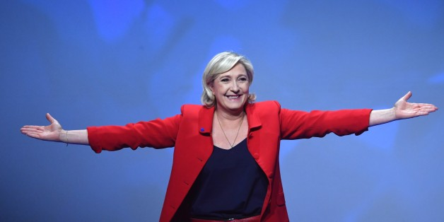 PARIS, FRANCE - APRIL 17: French Presidential Election candidate Marine Le Pen, the leader of France's far-right Front National (FN) political party gestures during a campaign meeting in Paris, France on April 17, 2017 (Photo by Mustafa Yalcin/Anadolu Agency/Getty Images)