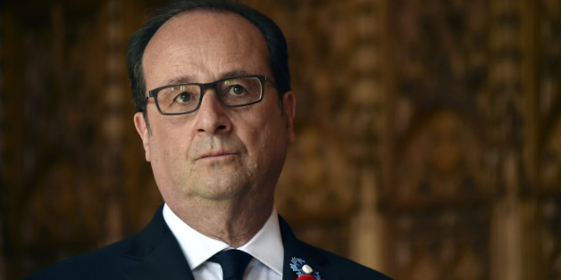 French President Francois Hollande attends a ceremony at the city hall of Arras, France, as part of events to commemorate the 100th anniversary of the Battle of Vimy Ridge, April 9, 2017. REUTERS/Philippe Huguen/Pool