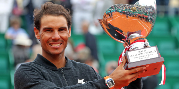 Tennis - Monte Carlo Masters - Monaco - 23/04/17 - Rafael Nadal of Spain poses with his trophy after winning his final tennis match against his compatriot Albert Ramos-Vinolas at the Monte Carlo Masters. REUTERS/Eric Gaillard