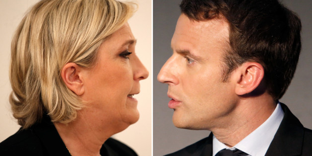 A combination picture shows portraits of candidates for the second round in the 2017 French presidential election, Marine Le Pen (L), French National Front (FN) political party leader, and Emmanuel Macron, head of the political movement En Marche!, (Onwards!). Picture taken March 2, 2017 (L) and April 13, 2017 (R).    REUTERS/Charles Platiau