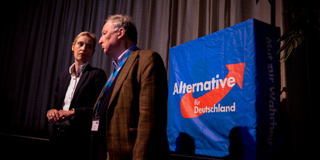 COLOGNE, GERMANY - APRIL 23: The members of the national directorate of the AfD party Alice Weidel and Alexander Gauland on stage at a press conference after being elected as the leading duo for the general elections during the federal congress of the right-wing populist Alternative for Germany (AfD) political party in the Maritim Hotel on April 23, 2017 in Cologne, Germany. The party is meeting following the recent surprise announcement by its chairwoman Frauke Petry that she will not run in German federal elections scheduled for September. The AfD saw a surge in popularity that helped it capture seats in 10 state parliaments, though more recently that party has seen its poll numbers slip. It has also been plagued by infighting between more moderate and radical factions of its leadership. (Photo by Sascha Schuermann/Getty Images)
