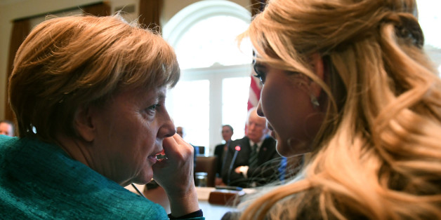WASHINGTON, DC - MARCH 17:  German Chancellor Angela Merkel (L) speaks with Ivanka Trump during a roundtable discussion on vocational training with United States and German business leaders in the Cabinet Room of the White House on March 17, 2017 in Washington, DC. In Merkel's first U.S. visit under the Trump administration, the two leaders discussed strengthening NATO, fighting the Islamic State group, and the ongoing conflict in Ukraine. (Photo by Pat Benic-Pool/Getty Images)