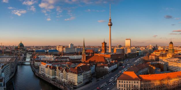 Panorama of Berliner Skyline at sunset